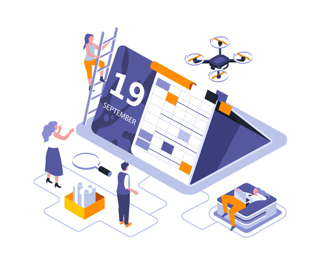 Calendar table isometric landing page vector template. Effective workflow organization website homepage interface illustration layout. Business schedule planning web banner isometry concept